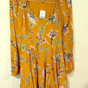 Urban outfitters boho mustard yellow floral dress